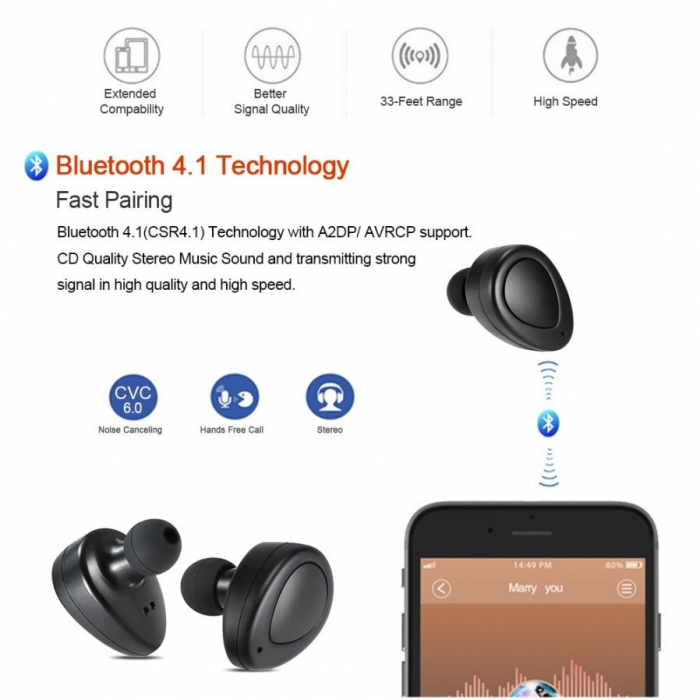 2016 New Sport Headphone CSR4.0 Wireless Stereo Bluetooth